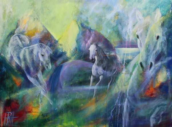 Maleri af heste og fantasilandskab