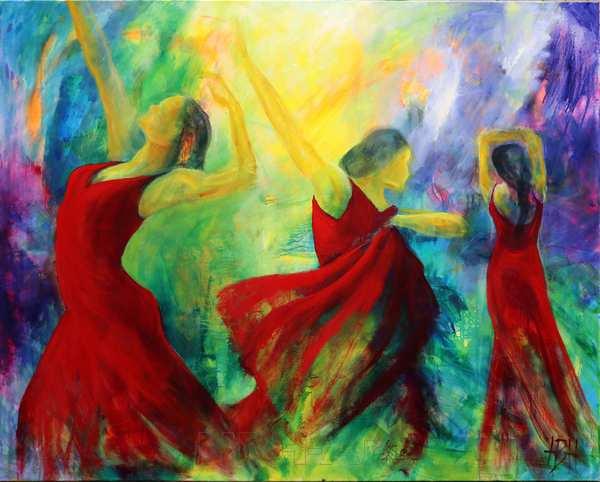 Stort maleri af tre dansere i røde kjoler