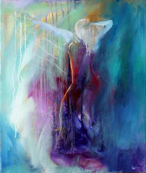 spirituelt maleri i blå og violette farver af flamencodanser med sjal