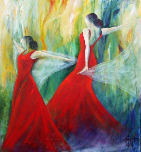 maleri af kvinder der danser med sjal i røde kjoler