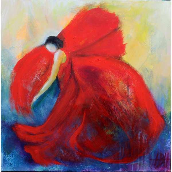 maleri af flamencodanser med flagrende kjole