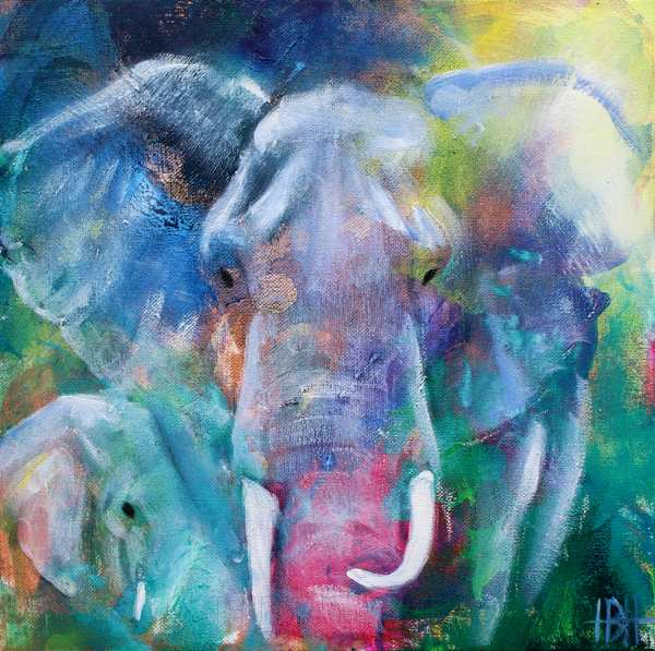 maleri af elefant og unge i blålige farver