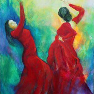dansemalerier - to flamencodansere i røde kjoler