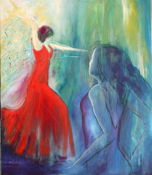 maleri af to flamencodansere i lyse farver. Den ene kvinde er i rød kjole, den anden i blå-violet