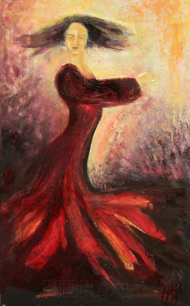 maleri af flamencodanser, der drejer rundt
