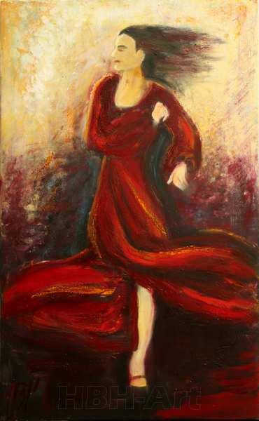 maleri af flamencodanser i rød flamencokjole. Danseren er midt i en drejning