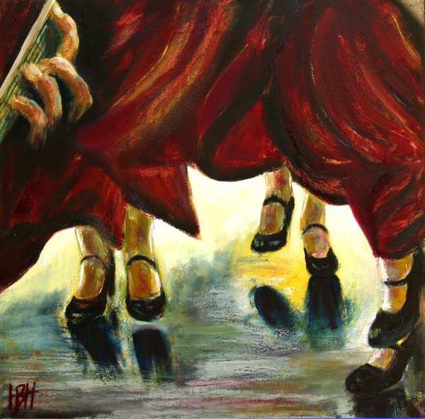 Maleri af dansende fødder i flamenco sko. Guitaristens hånd ses i det ene hjørne