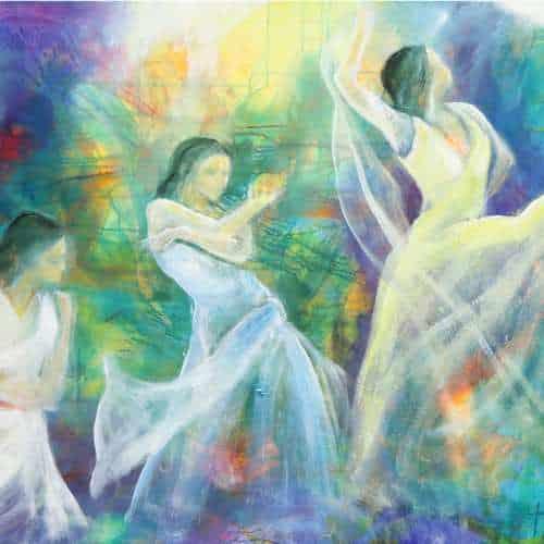 kunstkort 15 X 15 cm med print af flamenco dansemaleri af dansere i hvide kjoler. Malet i olie på lærred