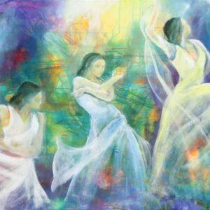 Oliemaleri af hvide flamencodansere - dansemaleri hvor baggrunden skinner igennem de hvide kjoler