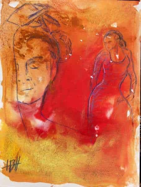 akvarelmaleri på papir af flamencodanser med et kvindeansigt i forgrunden. Malet i varme farver
