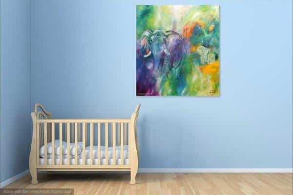 Elefantmaleri på væggen som kunst i børneværelset over sengen