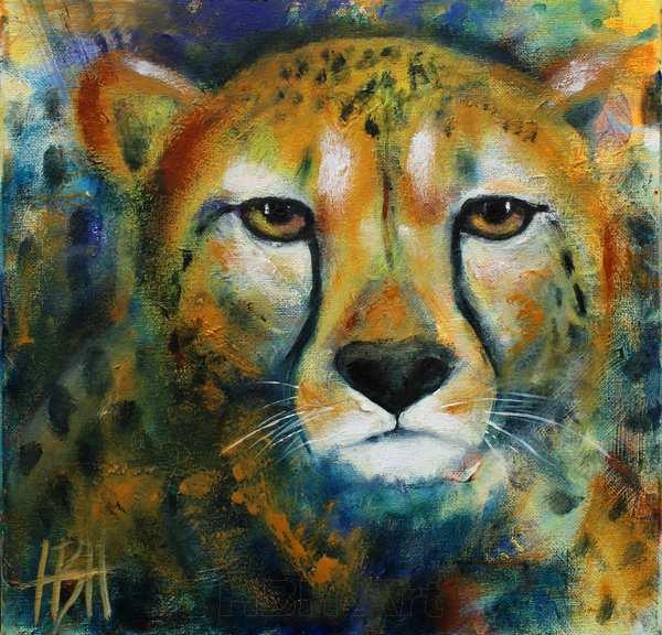 Maleri af gepard for dyrevelfærd. Geparden her er udloddet for at støtte cheetah foundation