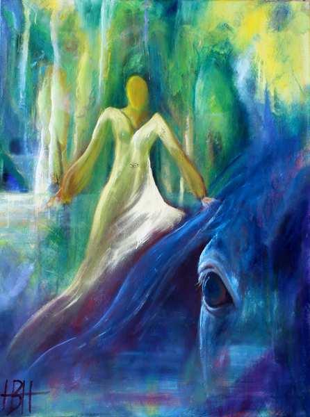maleri i blå og grønne farver af hest og kvinde i hvid kjole