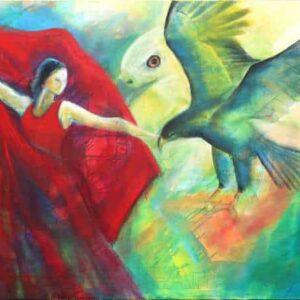 Maleri af ørne og kvinde der svinger kjolen som vinger