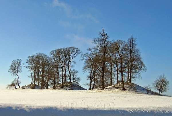 foto på lærred kæmpehøje om vinteren