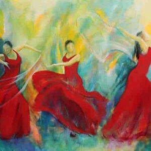 maleri til salg af tre dansere med sjal