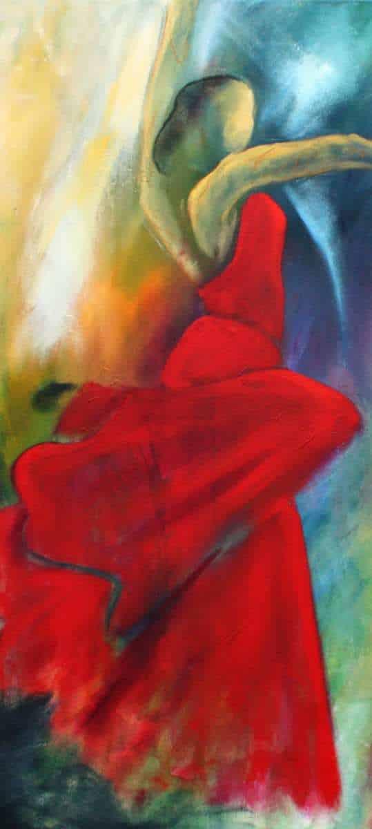Plakat af flamencodanser i lille oplag. Signeret med kunstners signatur