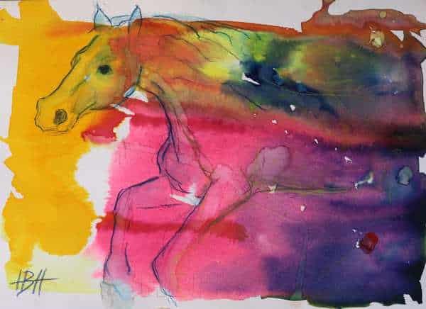Farverig akvarel af hest i fuld fart