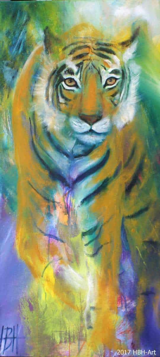 Plakat af tiger printet på kraftigt papir. Signeret af kunstneren