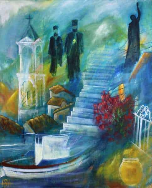 Maleri af rejseminder fra Samos