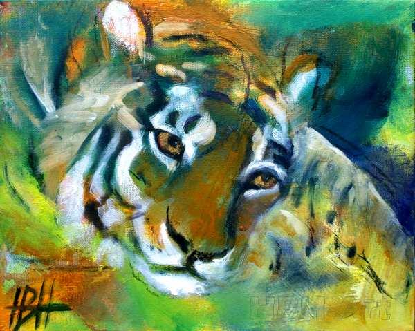 maleri af liggende tiger med hovedet på poten - malerier af dyr