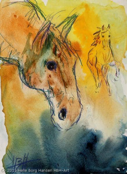 Akvarel af hest i nærbillede og en der kommer løbende fra baggrunden