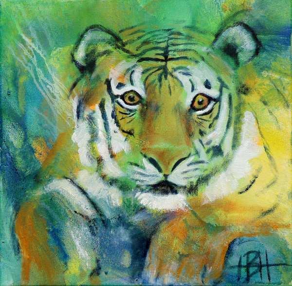 maleri af liggende tiger