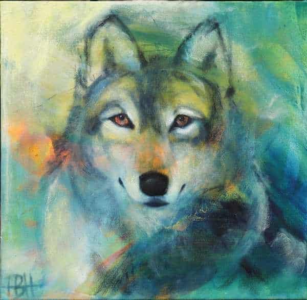 oliemaleri af ulv set forfra. blå farver
