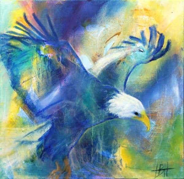 maleri af flyvende ørn i blå farver