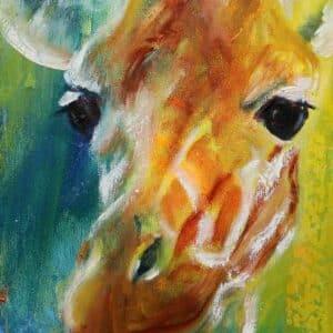 Maleri af giraf hoved