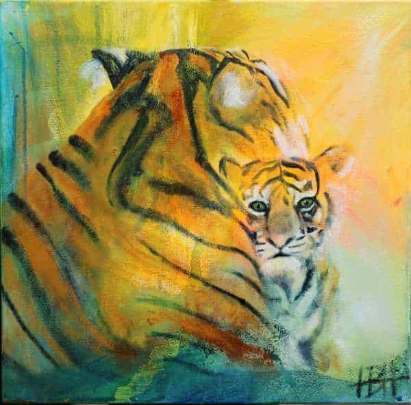 maleri af tiger med unge. Tigerungen kigger frem fra moderens forsiden