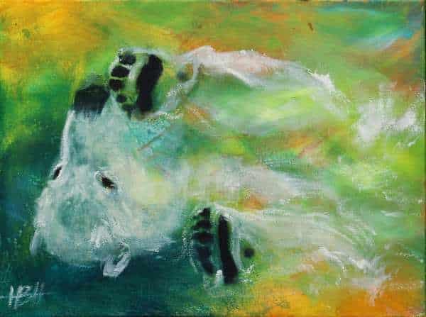 maleri af liggende isbjørn
