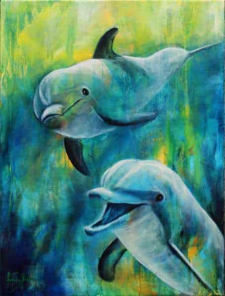 maleri af delfiner under vand i blå og grønne farver