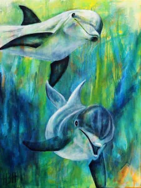 maleri af delfiner under vand i blå og grønne farver - malerier af dyr