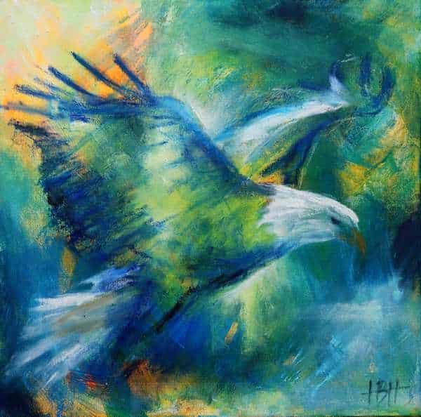 Maleri i olie af flyvende ørn i blå farver