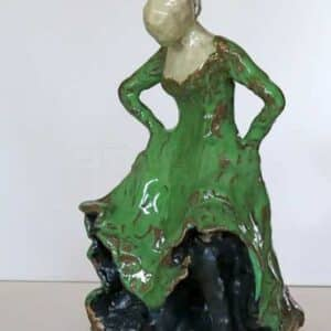 Skulptur af flamencodanser i glaseret stentøj