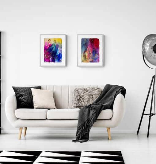Akvareller i stuen
