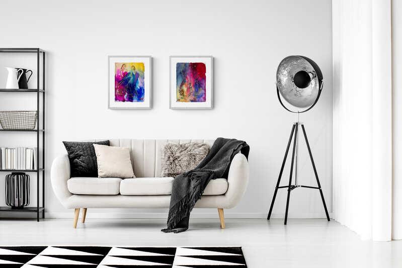Akvarel i stuen