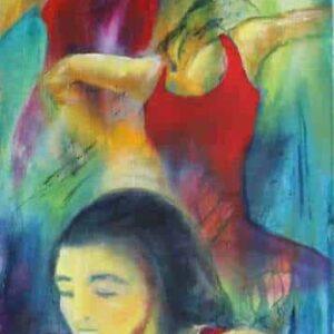 Smalt maleri af tre flamencodansere