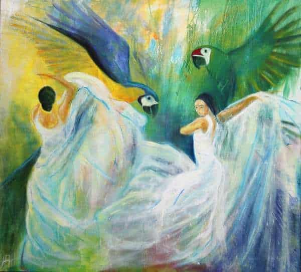 Stort oliemaleri af papegøjer og dansere i hvide kjoler. De svinger med skørterne som vinger