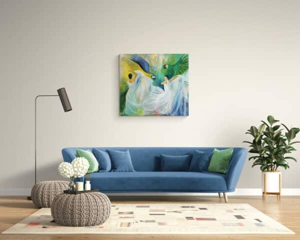 Maleri af dansere og papegøjer på væggen