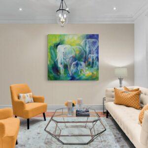 Maleri af elefanter i stuen