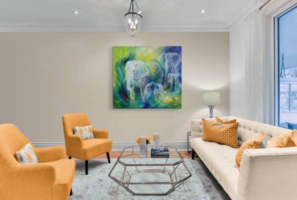malerier af dyr i stuen