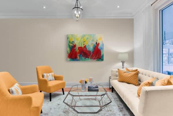 Maleri af kvinder i stuen