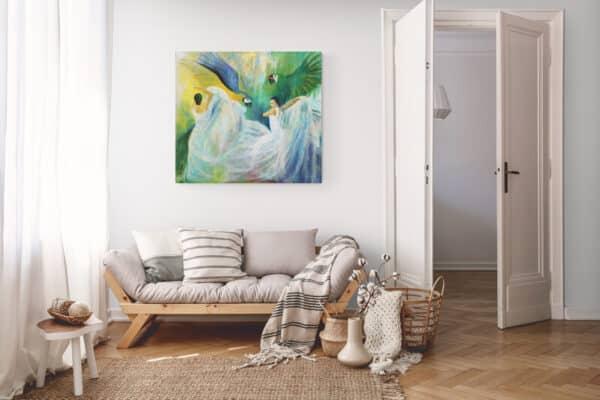 Maleri af kvinder og papegøjer i stuen