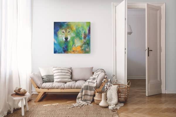 Maleri af ulv i den lille lejlighd