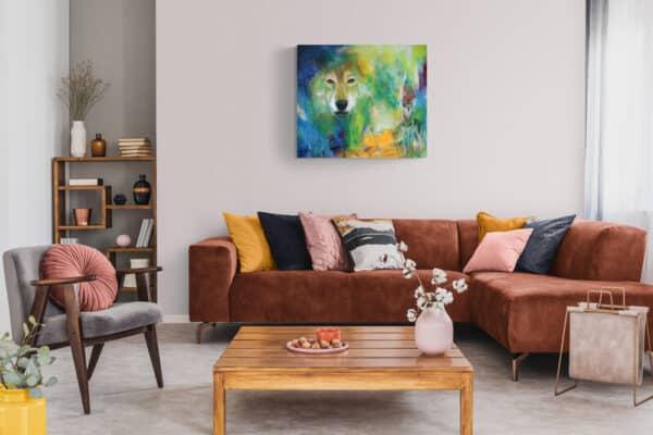 Maleri af ulv i stuen