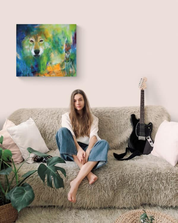 Maleri af ulv i teenageværelset