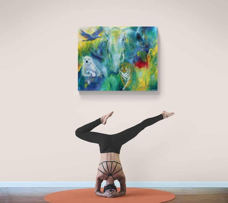 Maleri i yogarummet - dyremalerier