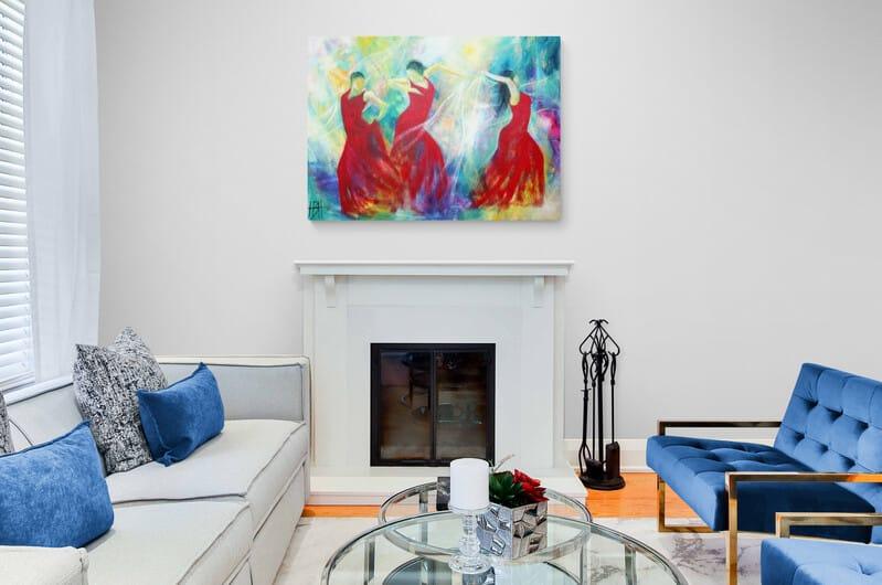 Maleri af dansere i stuen